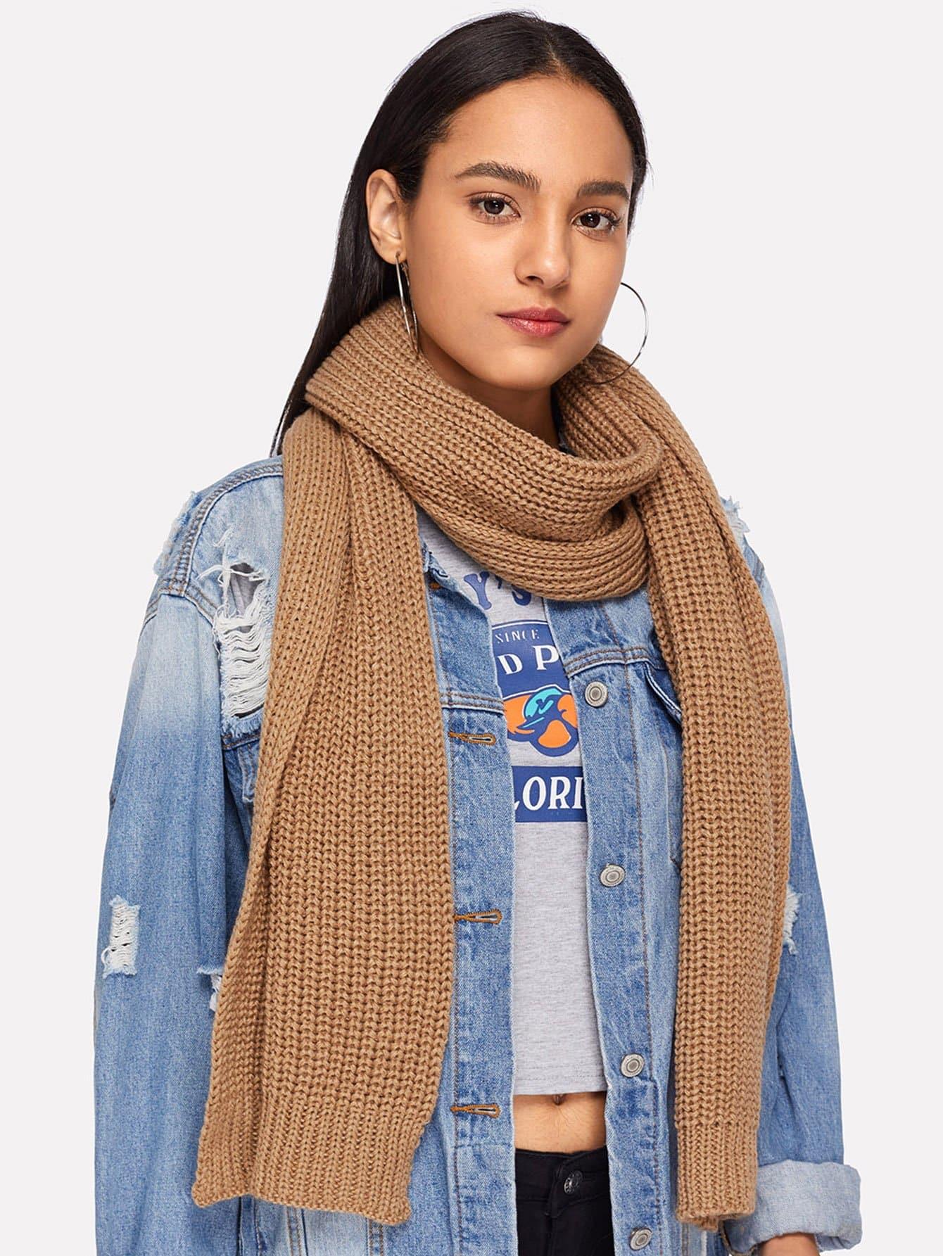 Купить Простой вязаный шарф, null, SheIn