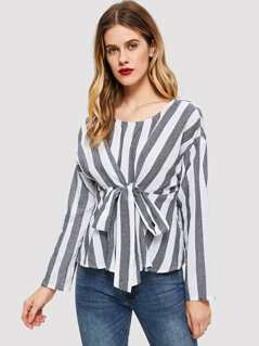 Two Tone Knot Front Blouse