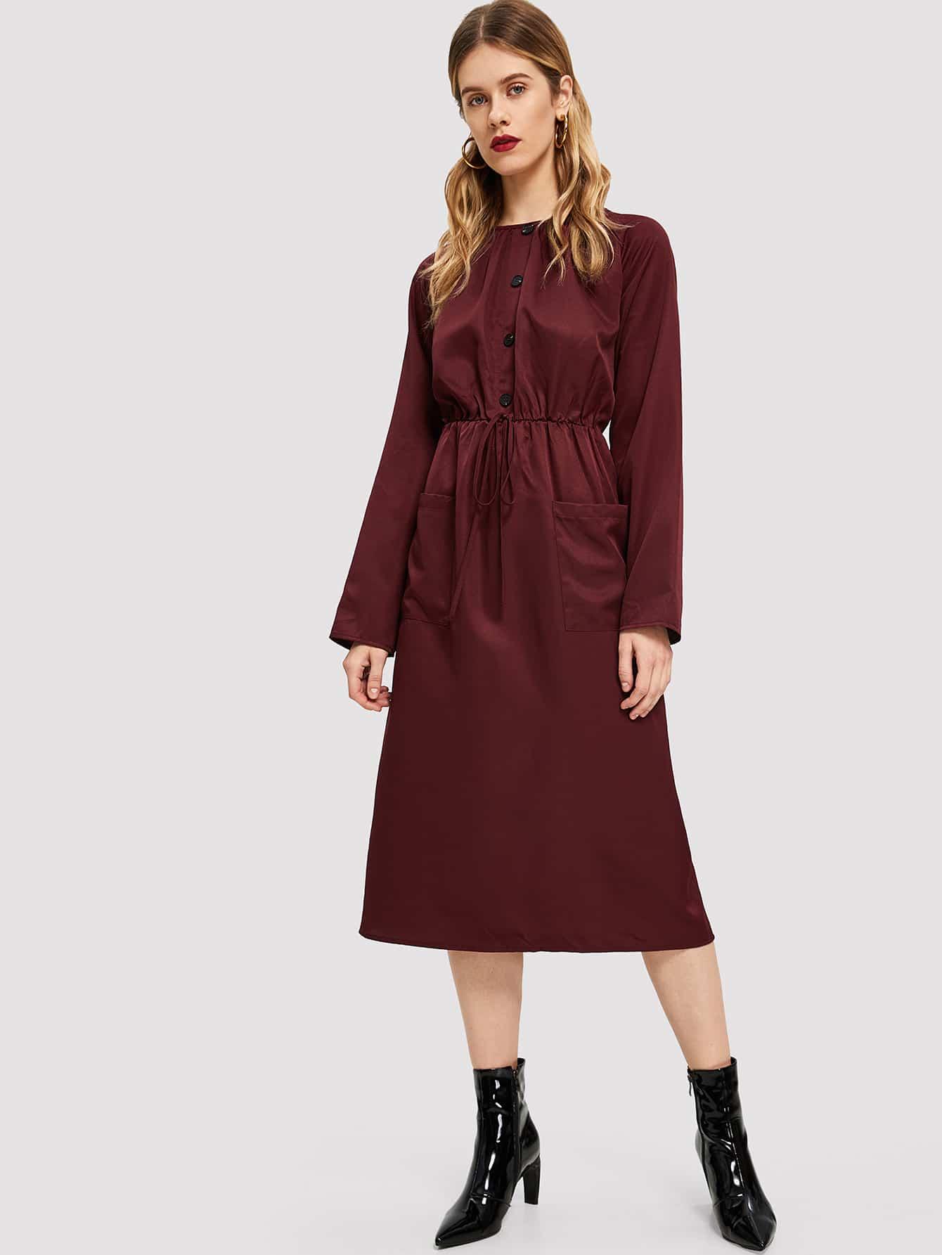 Купить Платье на пуговицах с рукавом-регланом, Victoriab, SheIn