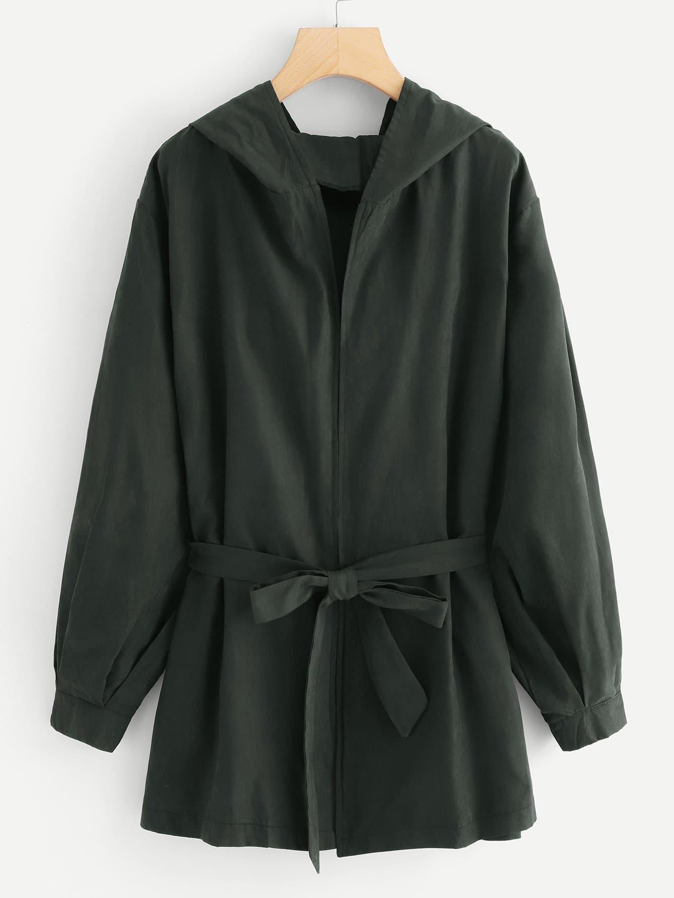 Купить Большое простое пальто с капюшоном и поясом, null, SheIn