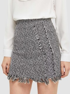 Frayed Trim Tweed Skirt
