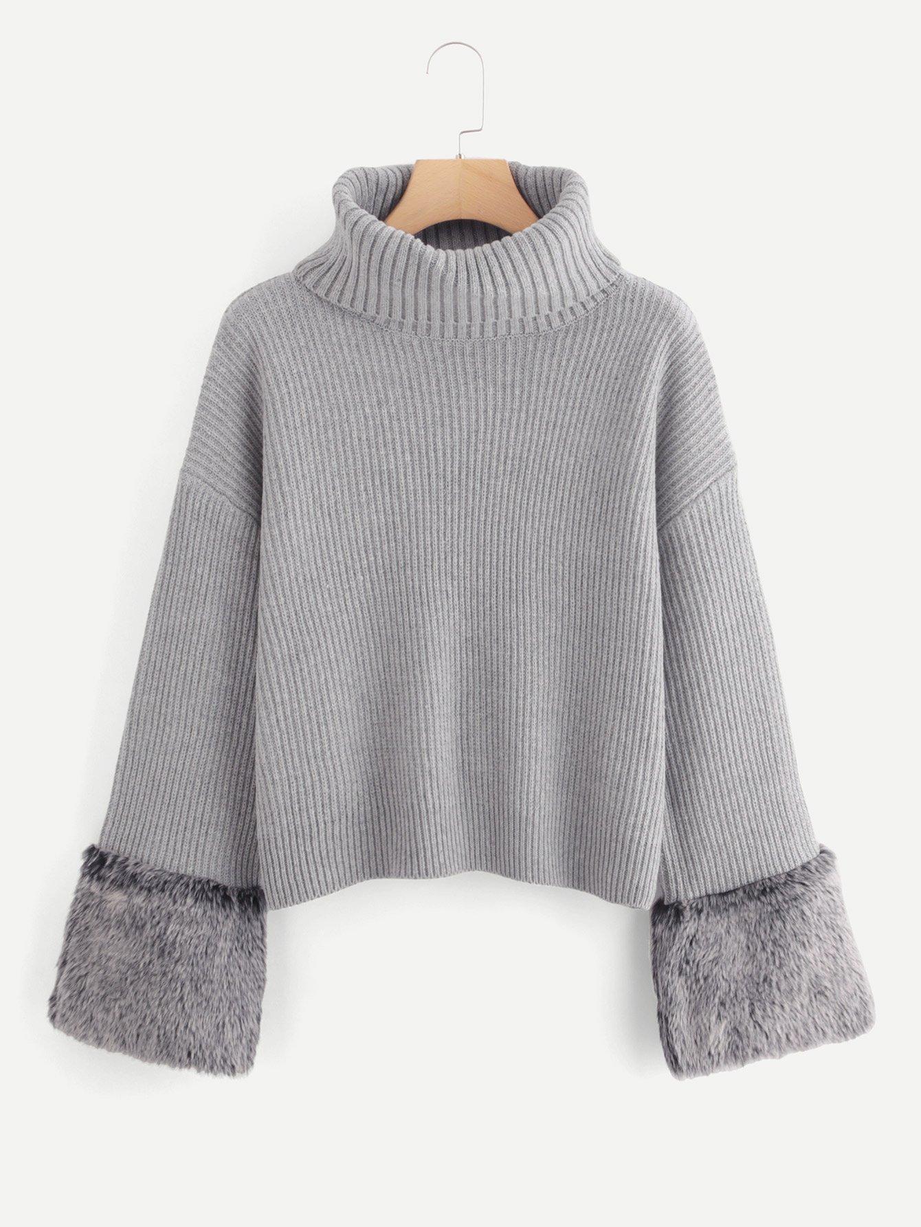 Купить Черепаха Шея Искусственный меховой свитер, null, SheIn