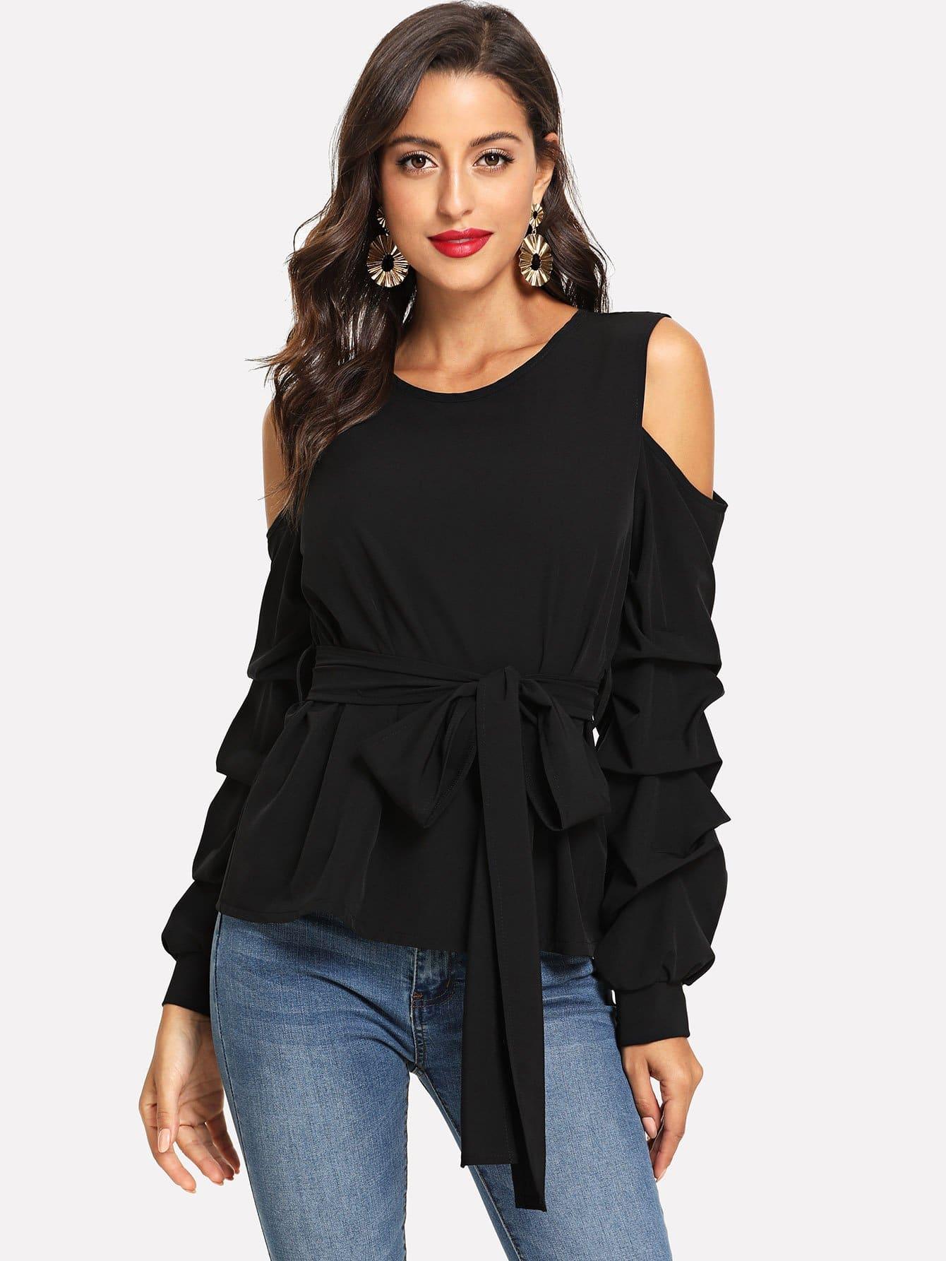 Купить Блуза с открытыми плечами и поясом, Mary P., SheIn