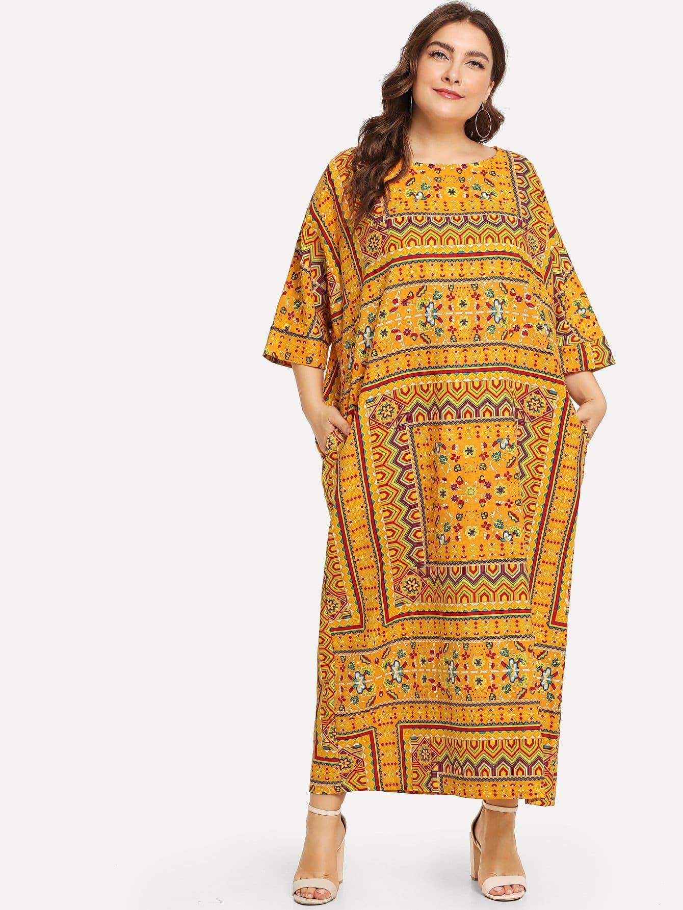 Купить Большое ситцевое платье с рукав-летучими мышами, Franziska, SheIn