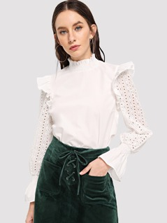 Schiffy Eyelet Sleeve Shirred Trim Top