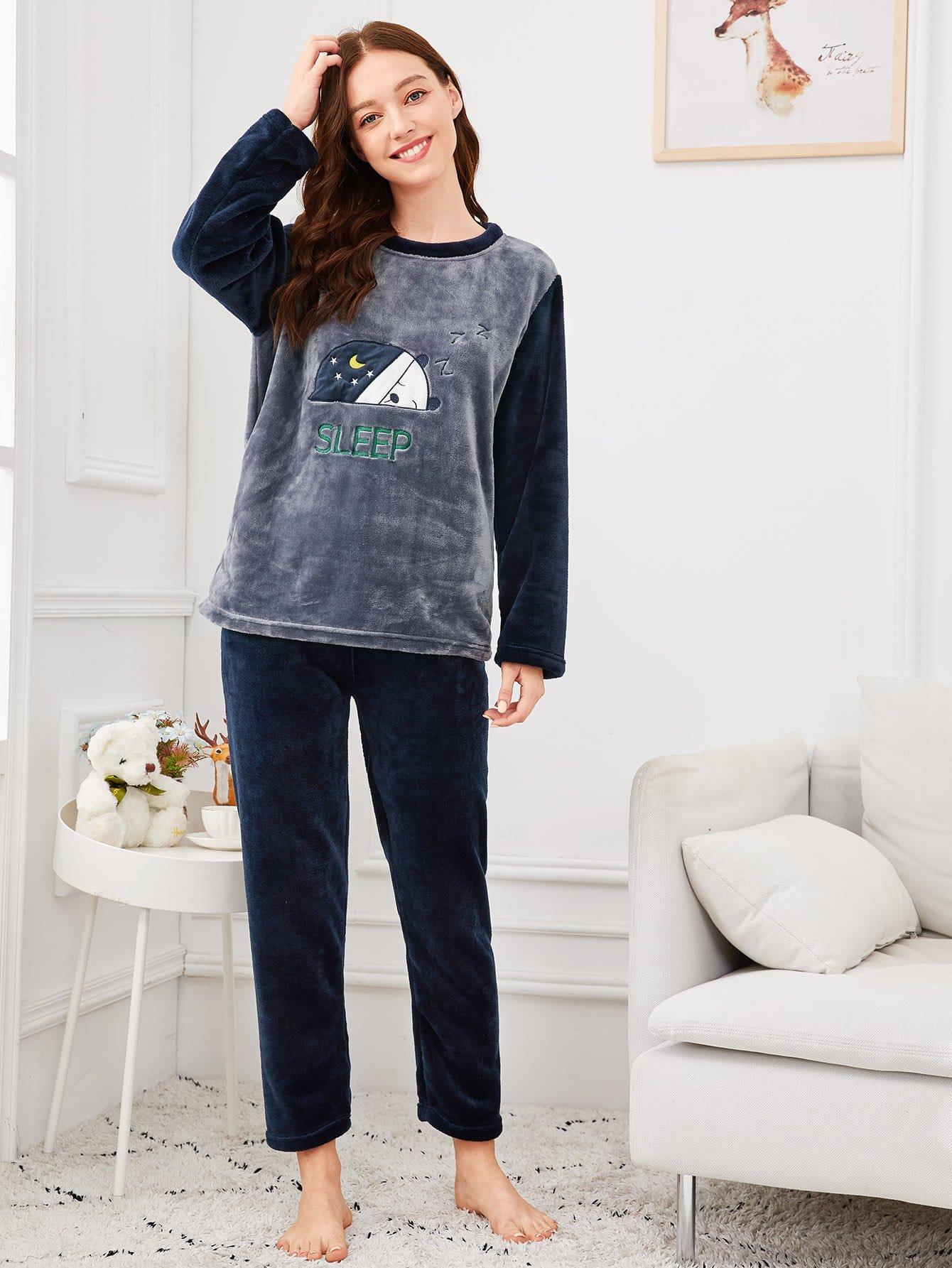 Купить Комплект контрастной пижамы с принтом вышитого медведя, Poly, SheIn