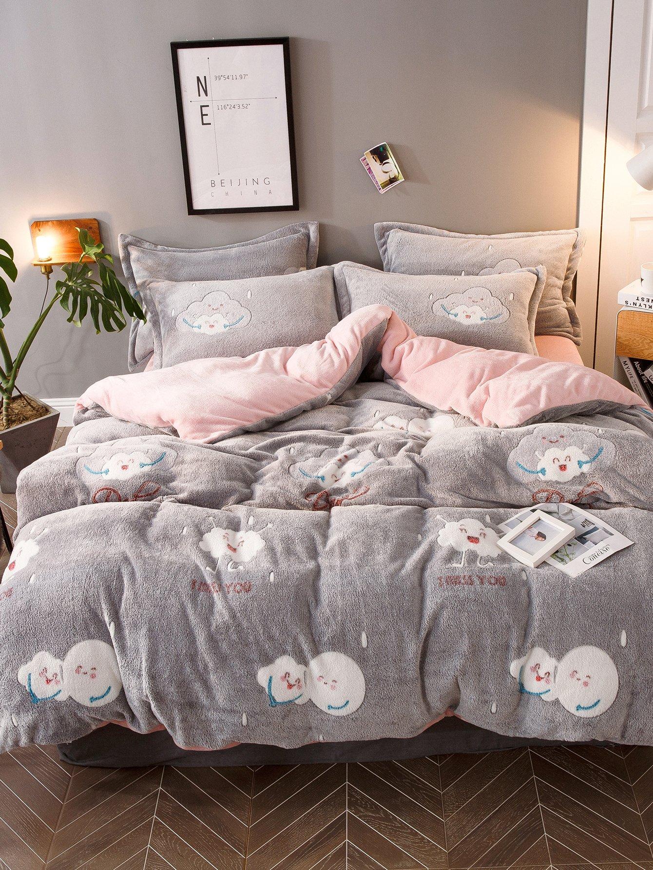 Купить Комплект постельного белья с принтом облак, null, SheIn