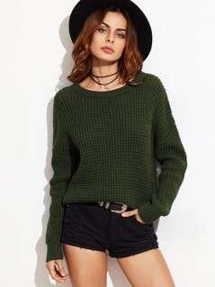 Drop Shoulder Waffle Knit Sweater