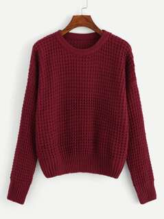 Drop Shoulder Waffle Knit Sweater
