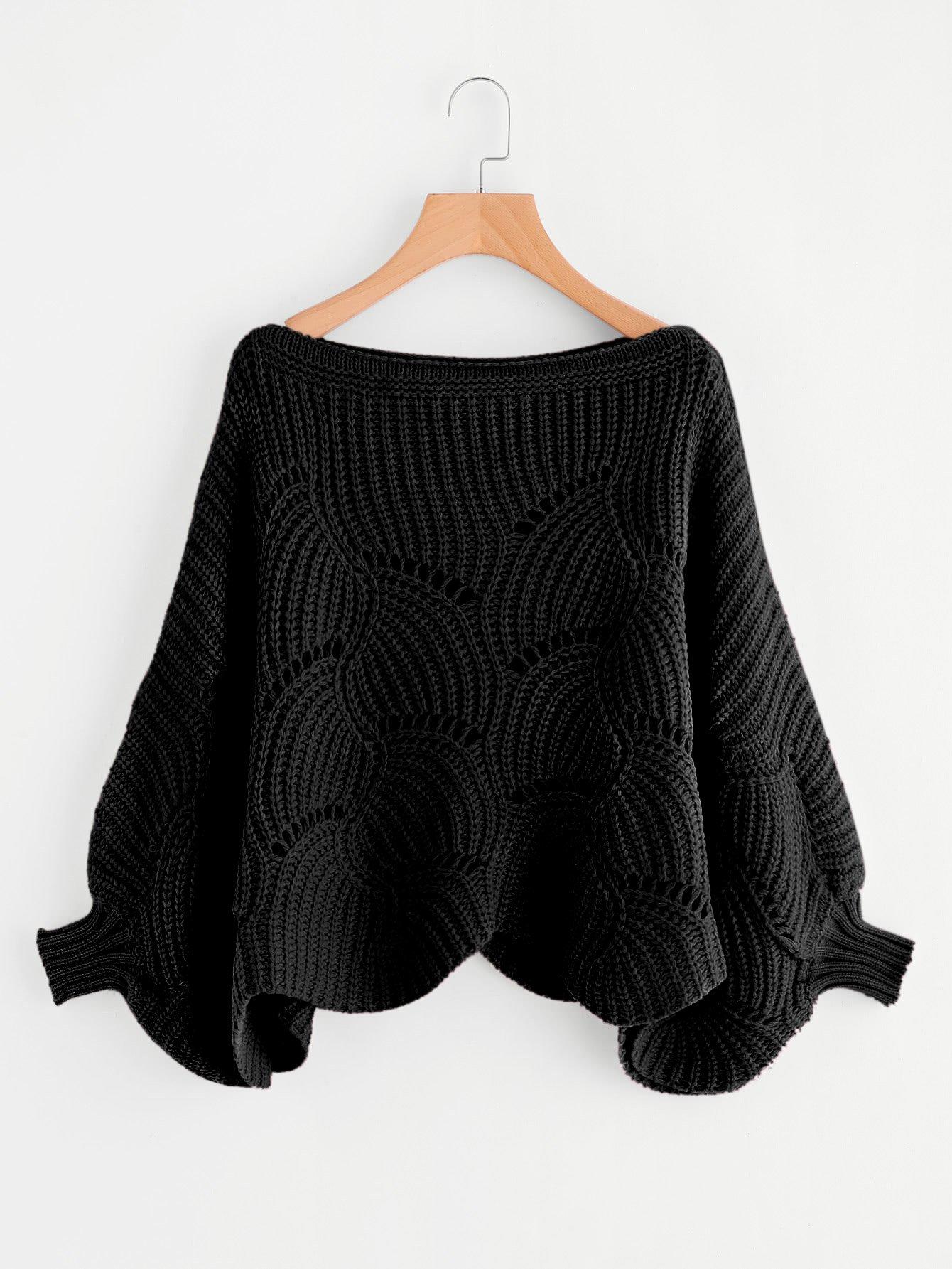 Купить Ушко деталь свитер с веерообразной отделкой, null, SheIn