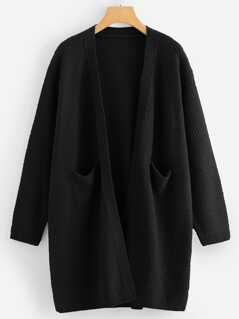 Pocket Patched Solid Longline Cardigan