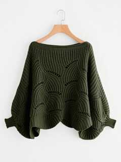 Eyelet Detail Dolman Sleeve Scalloped Sweater