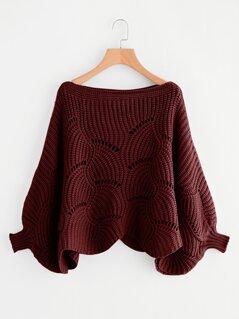 Eyelet Detail Dolman Sleeve Scalloped Sweater