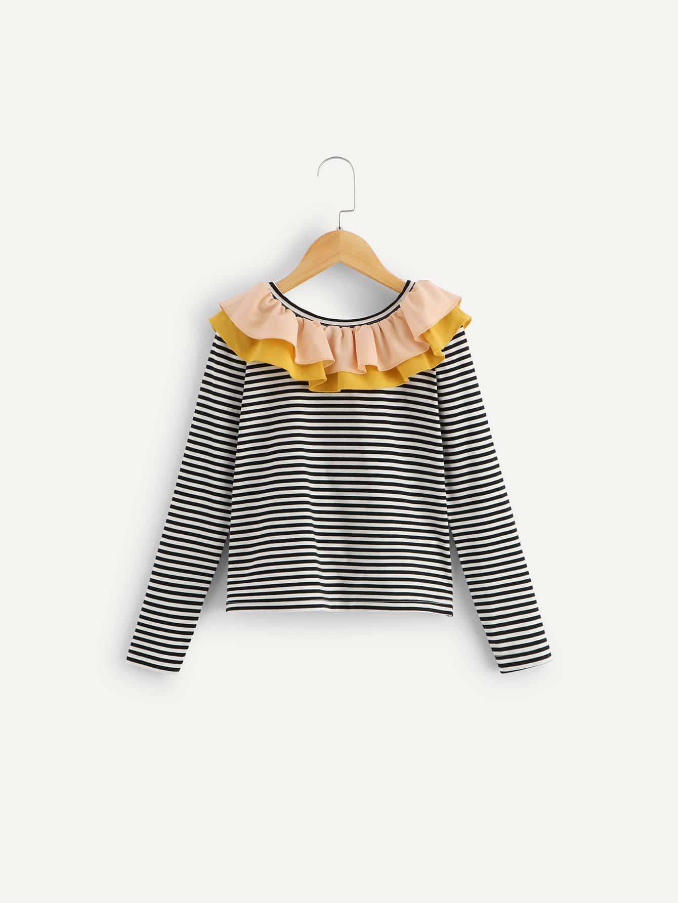 Купить Полосатая футболка с накрахмаленными кружевными оборками для девочек, null, SheIn