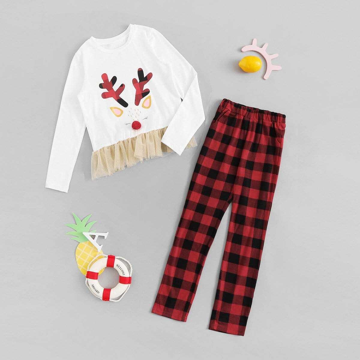 Асимметричная блуза и брюки в клетку для девочек от SHEIN