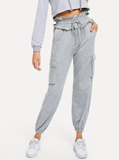 Ruffle Waist Flap Pocket Detail Sweatpants