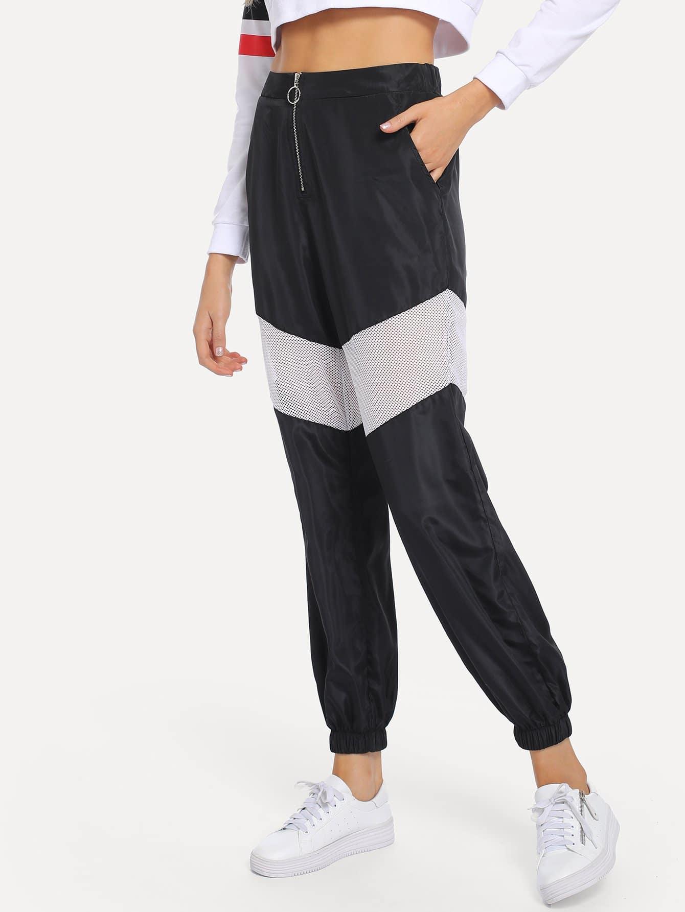 Купить Плоские брюки с застёжкой молния, Sasa, SheIn