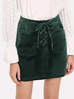 Patch Pocket Lace-Up Front Suede Skirt