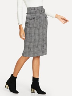 O-Ring Belted Plaid Pencil Skirt