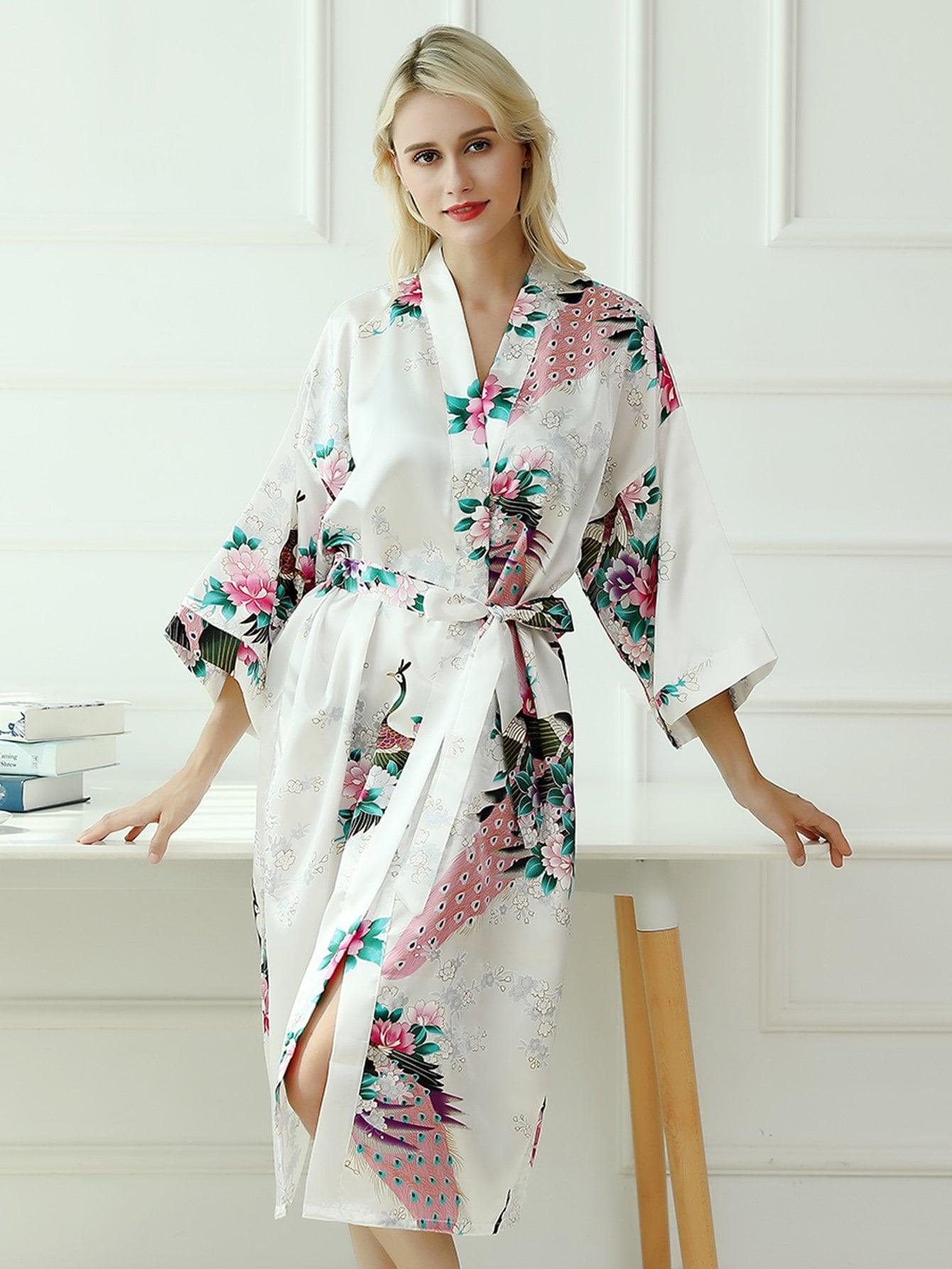 Купить Домашний халат с поясом и принтом павлин и цветов, null, SheIn