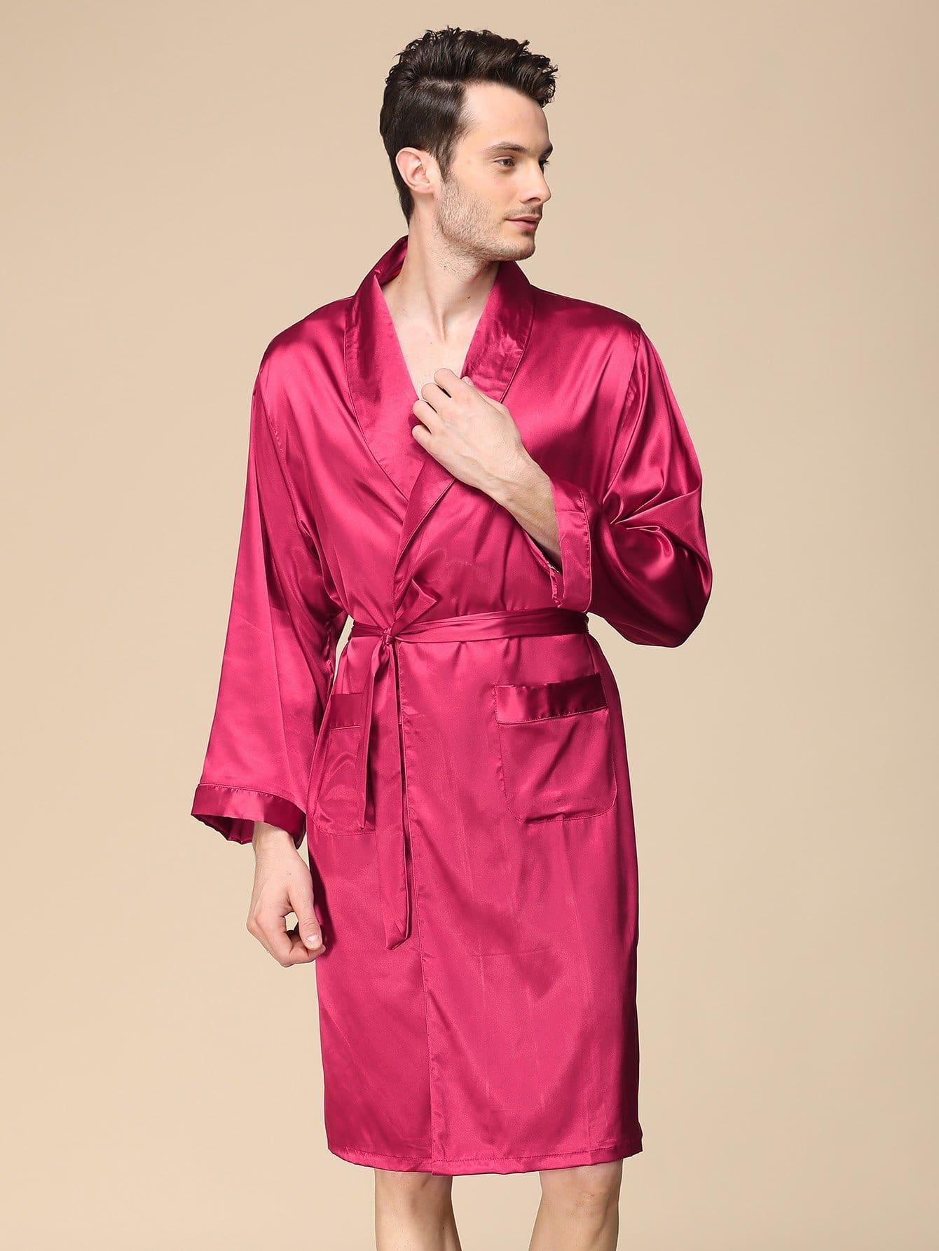 Купить Мужский домашний халат с поясом, null, SheIn