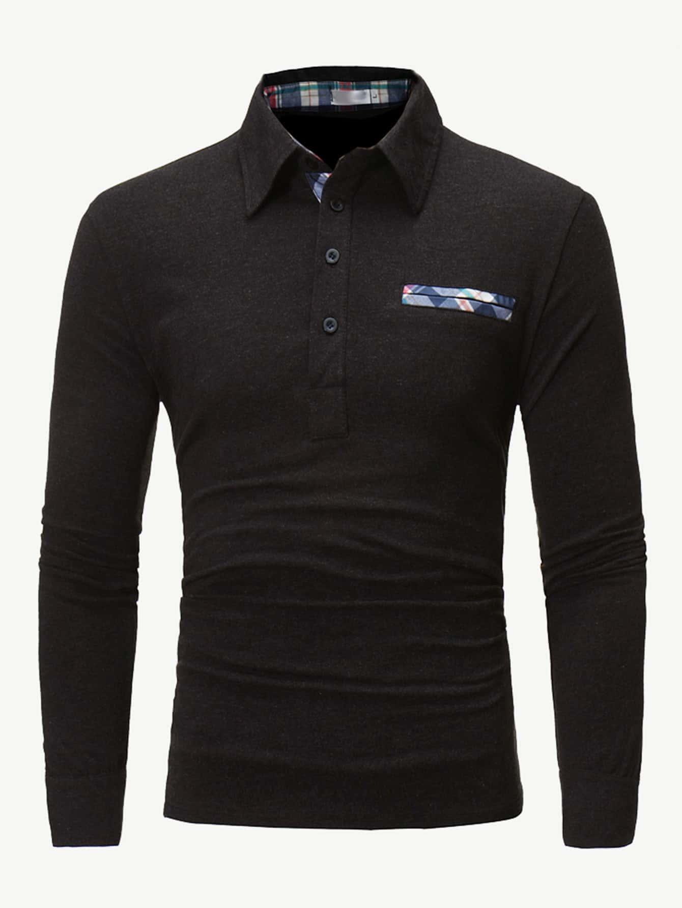 Купить Для мужчин контрастная поло рубашка в клетку, null, SheIn