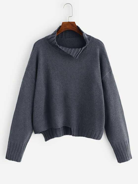 b3028f30451 Asymmetrical Hem Slit Detail Drop Shoulder Sweater