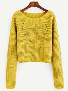 Drop Shoulder Eyelet Detail Sweater