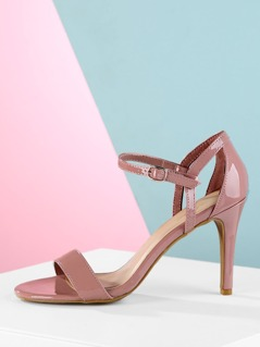 Open Toe Stiletto Heeled Ankle Strap Sandals