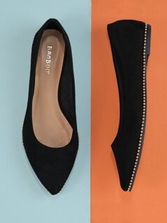 Pointed Ballerina Flats With Ball Chain Stud Trim