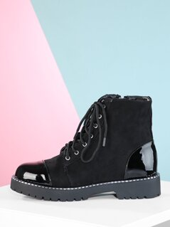 Patent Cap Toe Lace Up Metal Detail Combat Boots