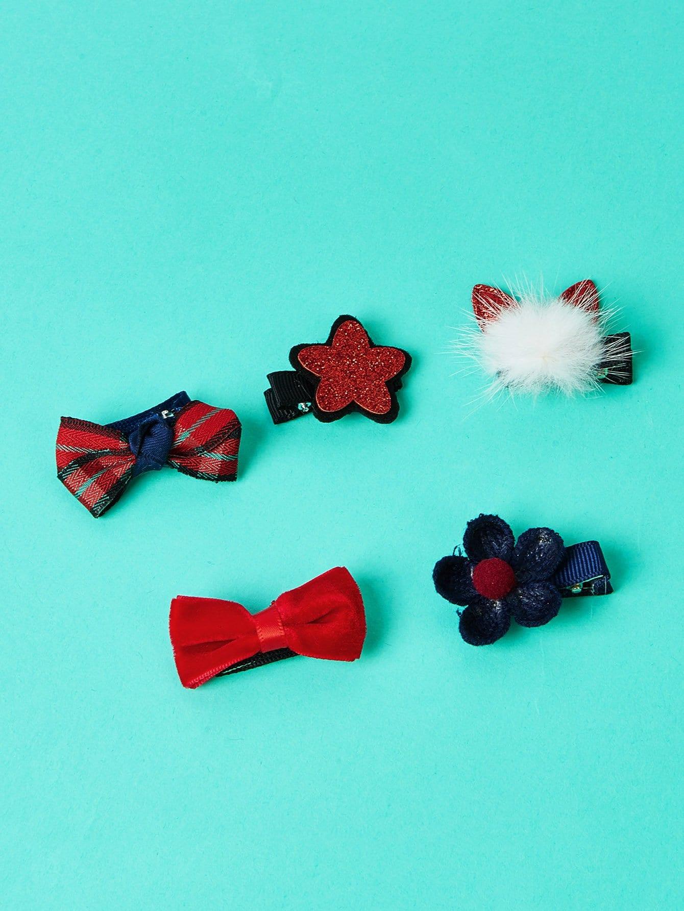 Купить Рождественский девушки зажим для волос с бантом 5шт., null, SheIn