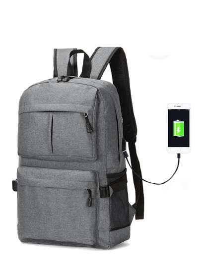 2c53560bcbb70 حقيبة ظهر رجالي بمنفذ شحن USB