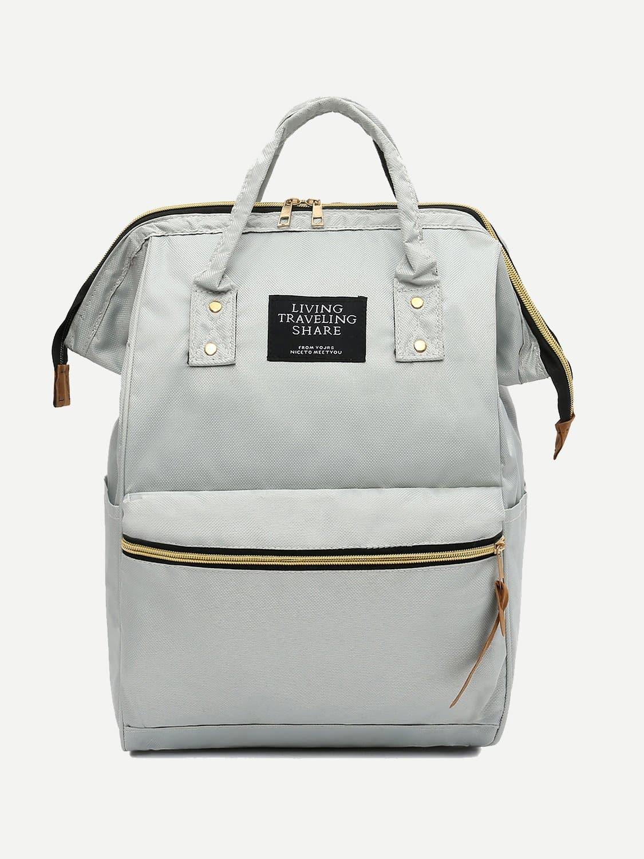 Купить Нейлоновый рюкзак с заплатами лозунгов, null, SheIn