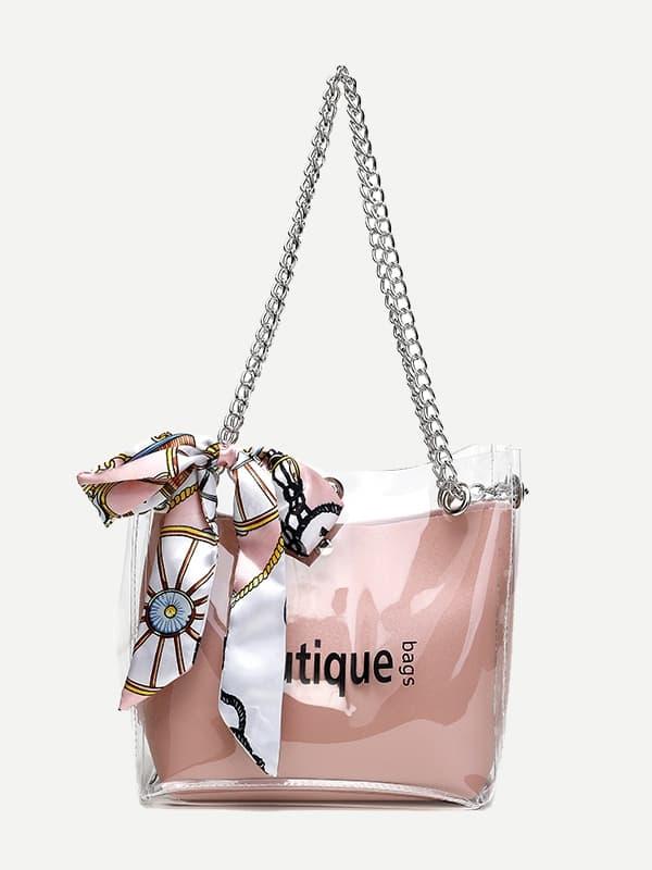 Купить Цепная сумка с шелковым шарфом, null, SheIn