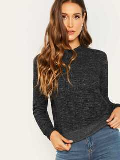 Heathered Brushed Knit Banded Edge Sweatshirt
