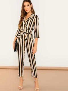 Double Breast Wrap Front Waist Tie Stripe Jumpsuit