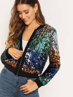 Zip Front All Over Sequined Jacket