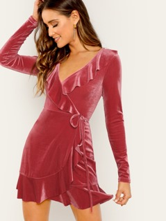 Wrap Front Ruffle Velvet Long Sleeve Mini Dress