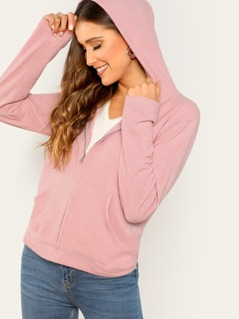 Zip Front Heathered Jersey Knit Pocket Hoodie