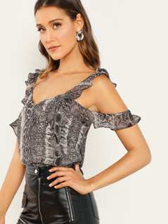 Ruffle Cold Shoulder Snake Print Top