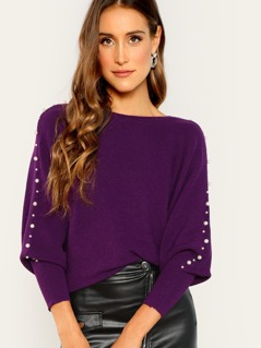 Pearl Accented Caftan Sleeve Knit Sweater
