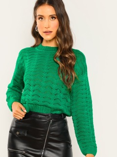 Loose Wave Knit Design Rib Neck Sweater