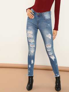 Shredded Destroyed Skinny Raw Cut Hem Jeans