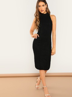 Sleeveless Rib Knit Turtleneck Bodycon Midi Dress
