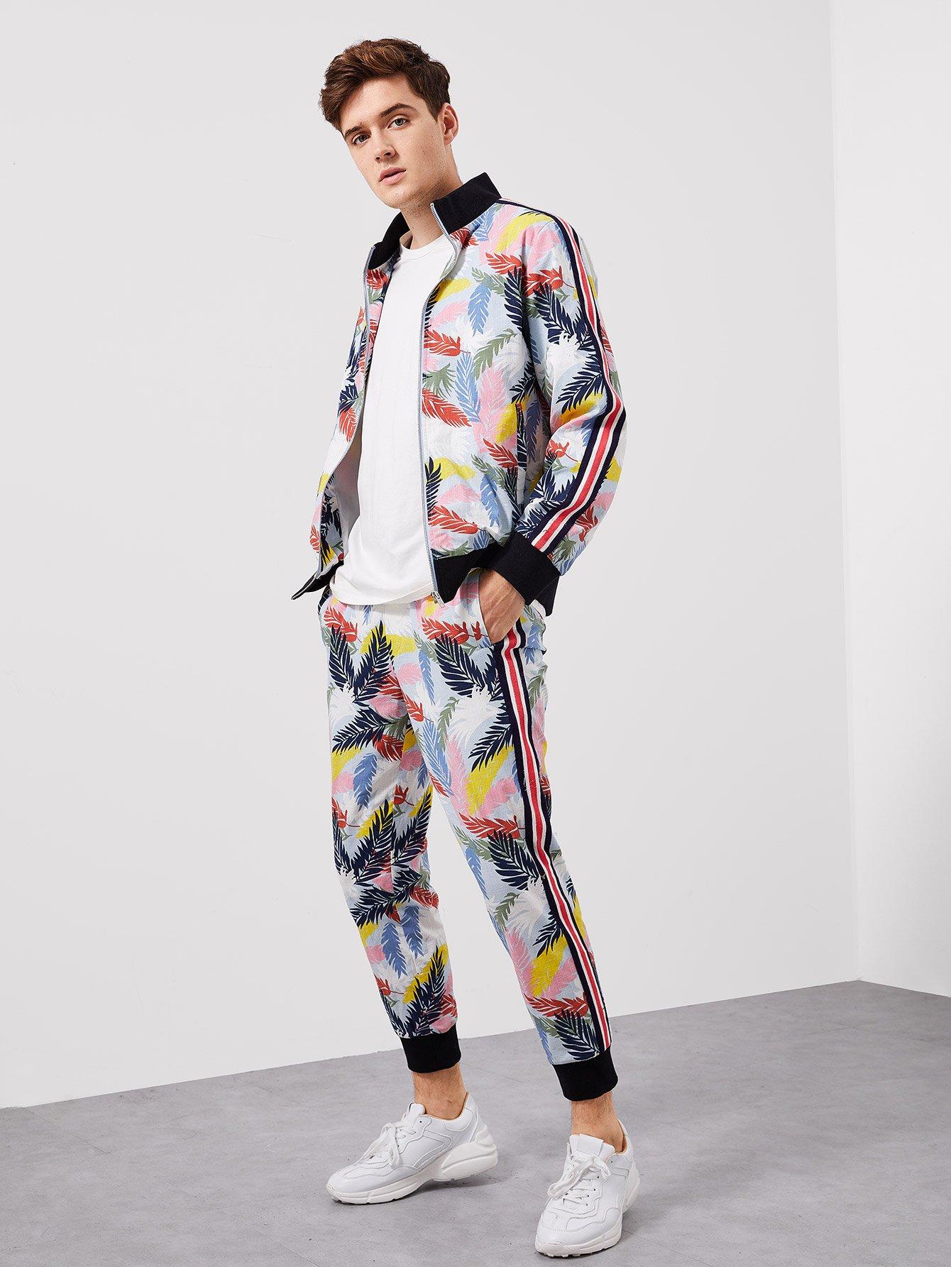 Для мужчин комплект брюки и пальто на молнии от SheIn