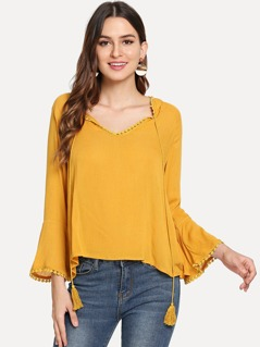 Tie Neck Tassel Bell Sleeve Top