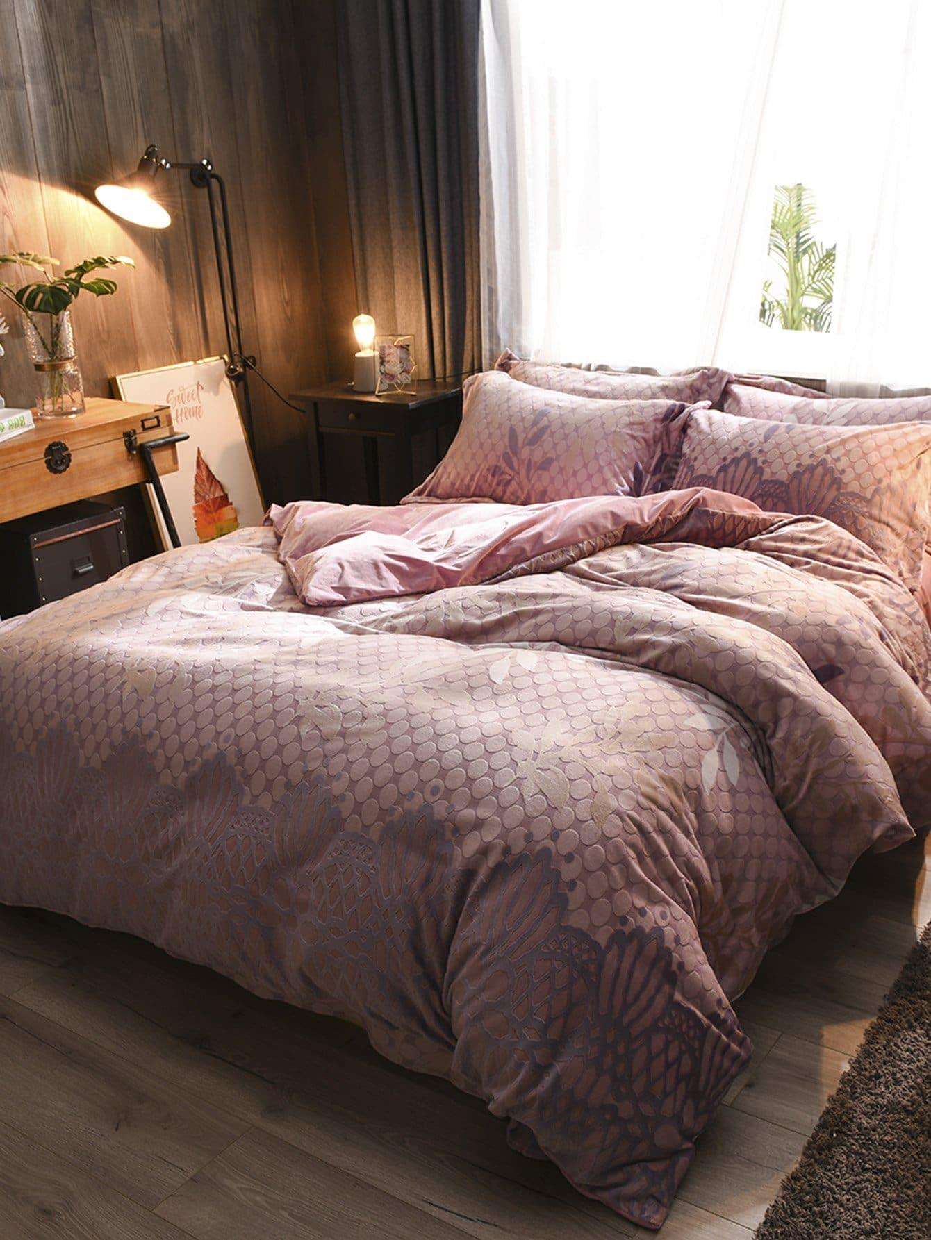 Купить Комплект ситцевого постельного белья в горошек, null, SheIn