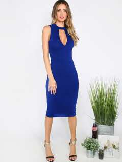 Keyhole Neck Fitted Dress