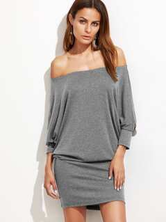 Off Shoulder Heathered Blouson Dress